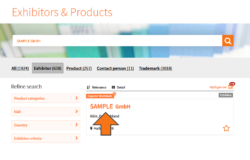 Screenshot: Exhibitors & products search