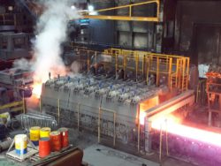Transfer bar cooling system from Primetals Technologies installed at the hot strip mill of Tata Steel´s Port Talbot integrated steel plant located in  South Wales, United Kingdom. © Primetals Technolo