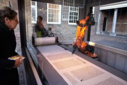 Continuing page after page, the robot fills several paper scrolls with a length of 200 meters with writing. © Dirk Hol